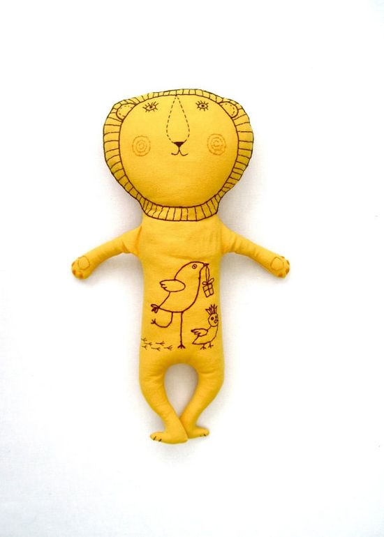 Yellow Lion /embroidery/ soft plush toy/ modern toy by tatianaflor
