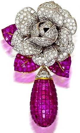 Ruby and diamond earring  by Cartier