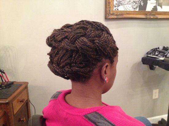 Elegant updo for braided hair