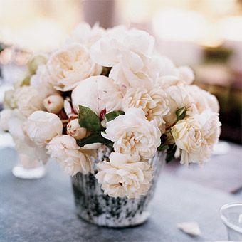 Lovely garden roses and mercury glass