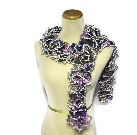 Hand Knit Ruffled Scarf  Purple Gray Lavender by ArlenesBoutique, $40.00