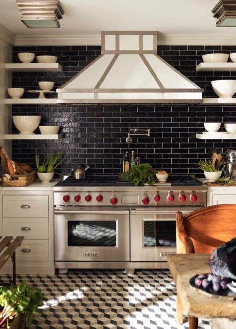 black subway tile. Beautiful kitchen