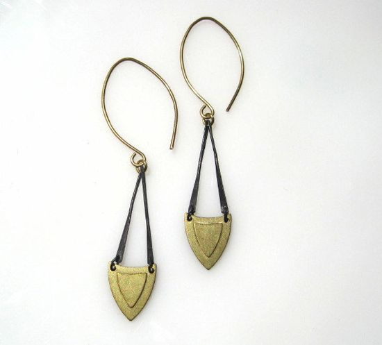 Gold and Black Shield Earrings. $30.00, via Etsy.