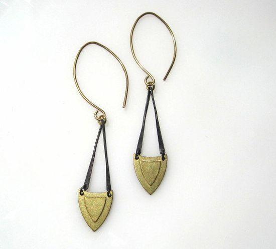 Gold and Black Shield Earrings. $30.00, via Etsy.