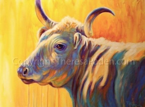 Texas+Gold,+Longhorn+Cow+Painting+by+Theresa+Paden,+painting+by+artist+Theresa+Paden