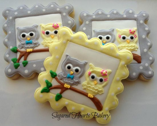 1 Dozen Twin Owl Cookie Favors by SugaredHeartsBakery on Etsy