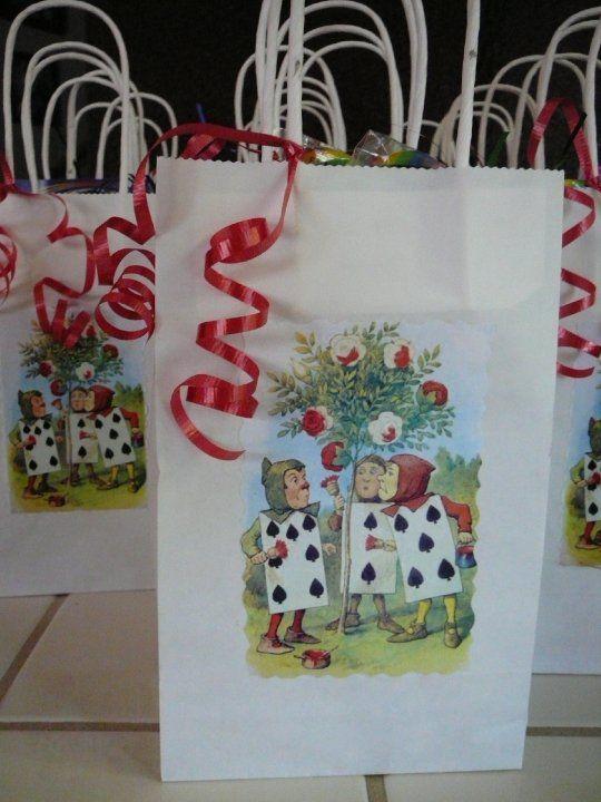 Alice in Wonderland handmade gift bags