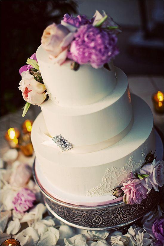 white and purple wedding cake