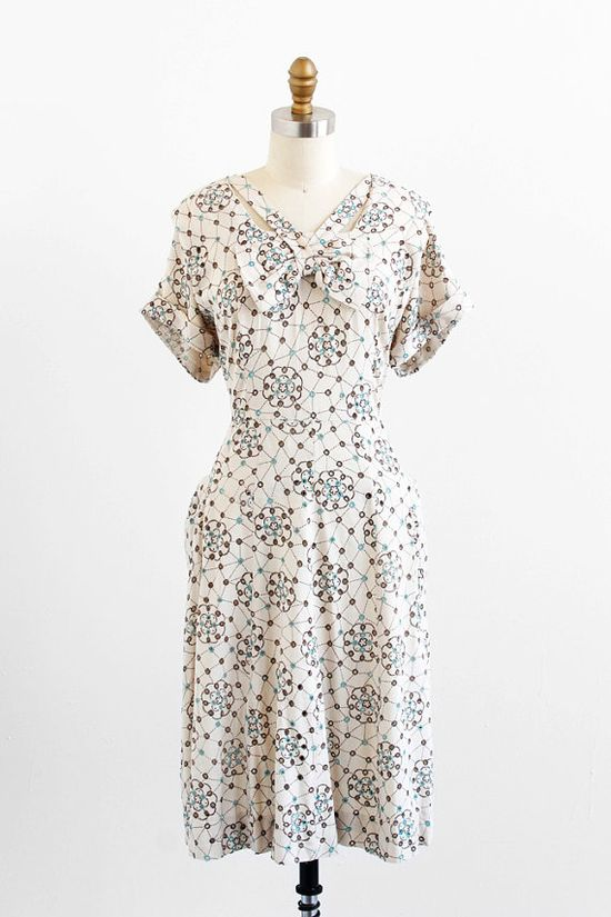 vintage 1940s plus size dress / 1940s dress / Cream Dress with Tiffany Blue and Brown Eyelet Print and Bow
