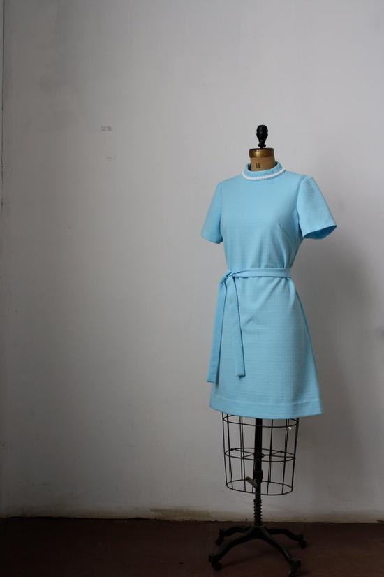 1960's Light Blue Mod Dress by birdandflowervintage on Etsy, $20.00