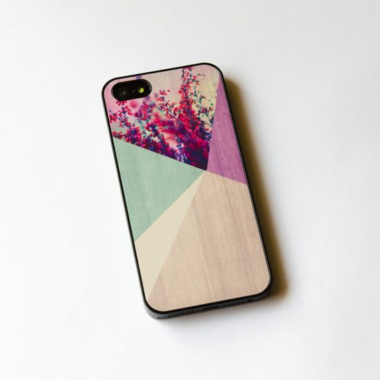 Floral Geometric on Wood  iPhone Case ,  iPhone 5 Case , Flower iPhone 4s case , wood iphone 4 case , iphone cover on Etsy, $16.97 CAD