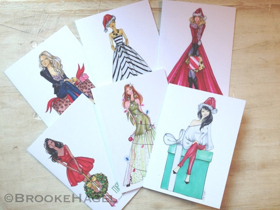 Your Choice 6 Assorted Holiday Fashion Illustration Cards- by Brooke Hagel.  via www.Brooklit.Etsy...