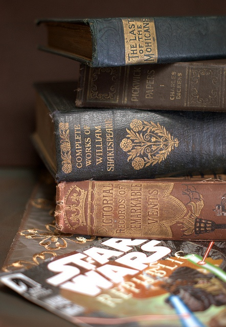 vintage books and new comic book