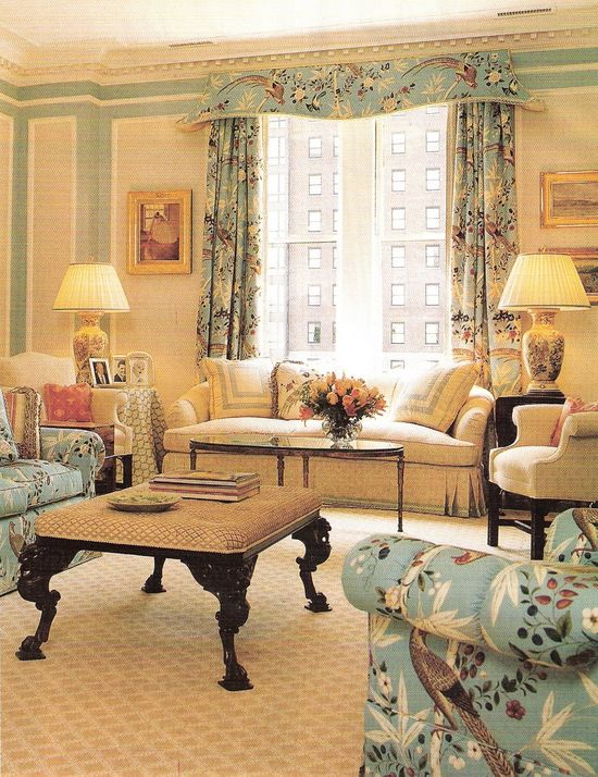 Beautiful living room.  Designer unknown.  (I hate not being able to credit the designer).