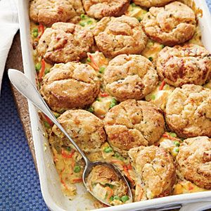 Chicken Pot Pie with Bacon and Cheddar Biscuits