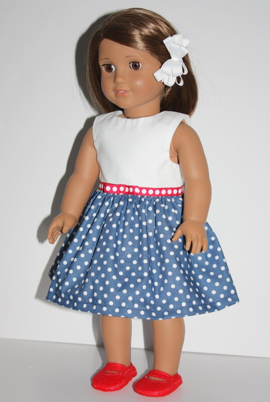 18 inch Doll Dress Navy & White Dots dress and Red by FrogBlossoms, $14.00
