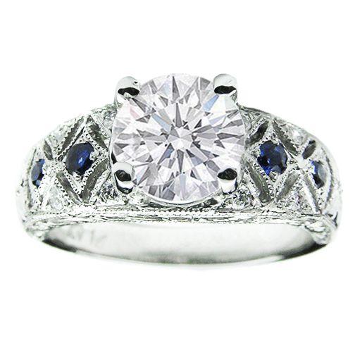 Antique Art Deco Round Diamond Engagement Ring in 14K White Gold