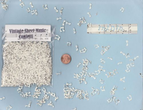 Tiny Handmade Music Note Shaped Confetti Hand Punched from Vintage Sheet Music