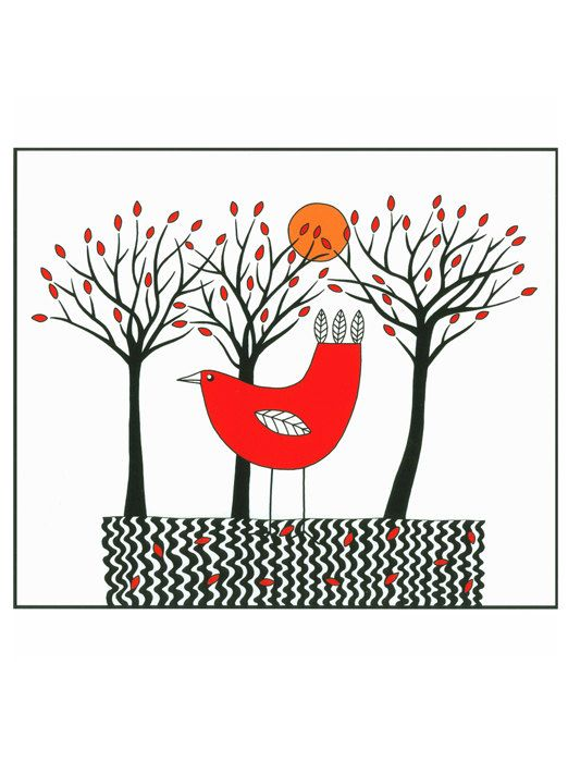 Art Illustration A4 Print Drawing Bird Graphic Black Red Drawing Trees And Red Bird Stylised Folk Art. $12.00, via Etsy.
