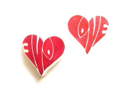 Love in a Heart Hand Carved Rubber Stamp by SweetSpotStampShop
