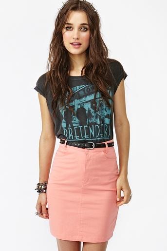Pencil Skirt and Band Tee