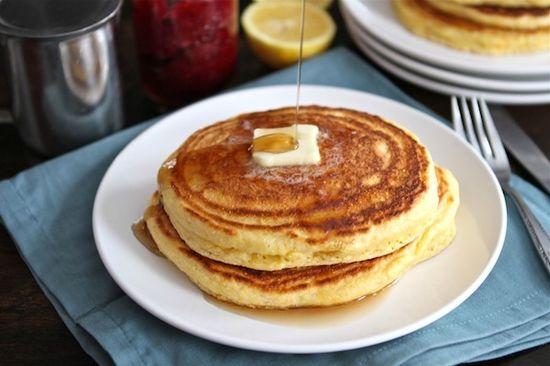 Lemon Cornmeal Pancakes (Two Peas and Their Pod) #pancakes #lemon #breakfast