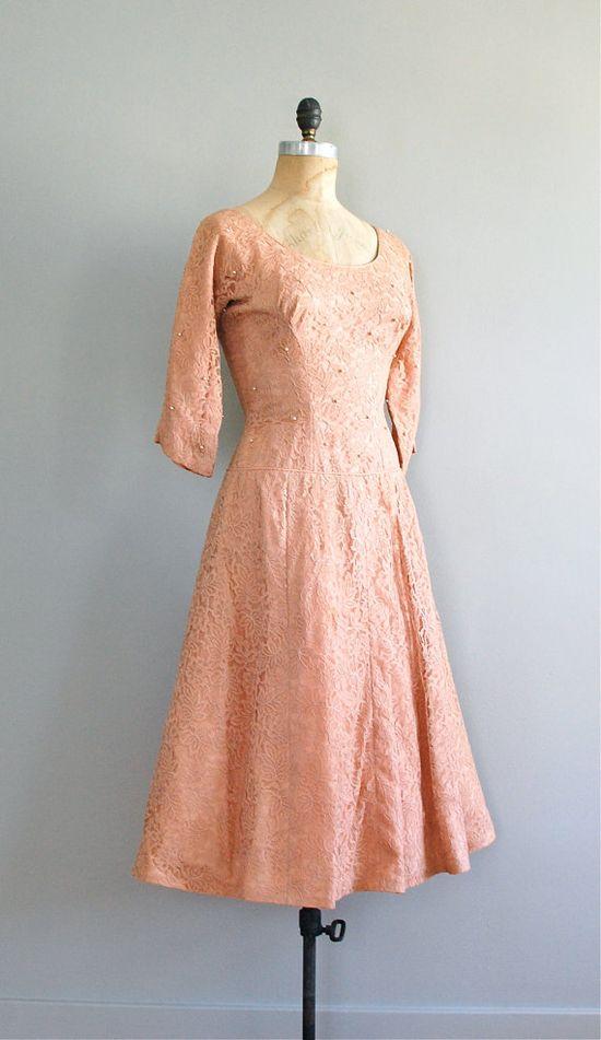 1950s blushing lace dress