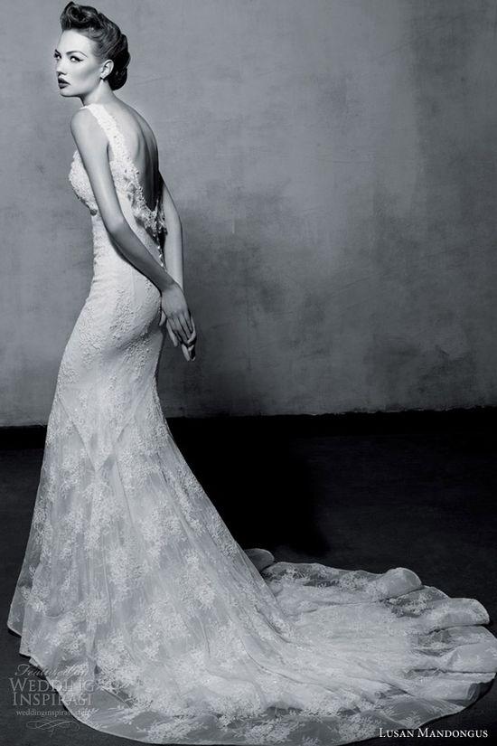 lusan mandongus 2013 sleeeless wedding dress