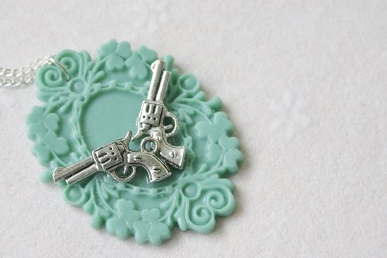 Gun Necklace / Handgun Necklace / Silver-plated Handmade Gun Coat-of-arms Charm Necklace. $16.95,
