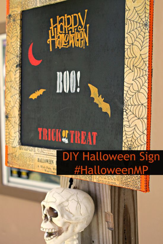 Do It Yourself Mod Podge Halloween Sign DIY