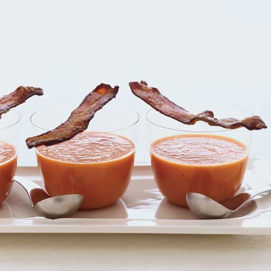 Smoky Tomato Soup with Maple-Candied Bacon // More Tasty Tomato Recipes: www.foodandwine.c... #foodandwine
