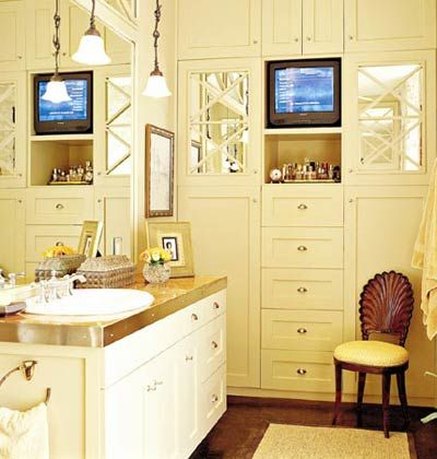 Great built-ins! White Neutral Bathroom < Our 50 Favorite Bathrooms - MyHomeIdeas.com