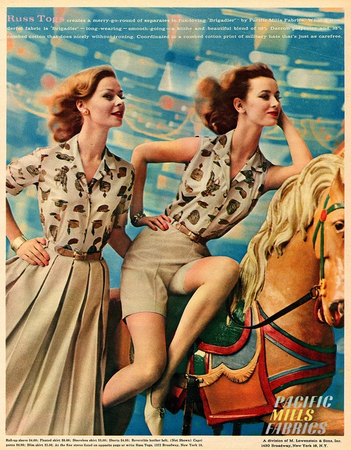 Terrific early 60s novelty print blouses. #vintage #retro #1960s #fashion #summer