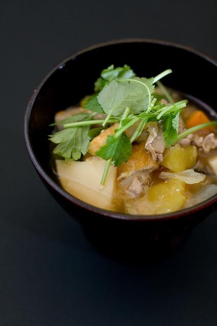 Tonjiru - miso soup with pork and vegetables