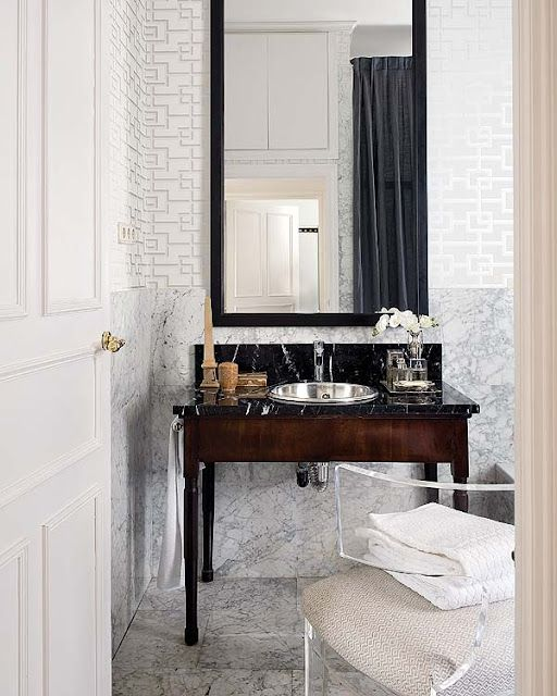 Lucite klismos, wallpaper, vanity