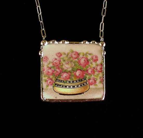Broken china jewelry necklace 1920's pink sweetheart roses vase made from broken china plate