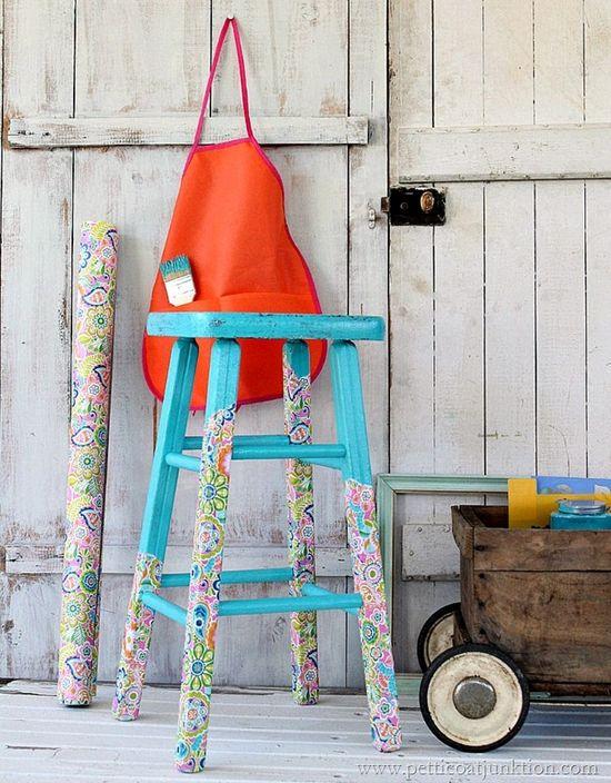 decoupage stool legs