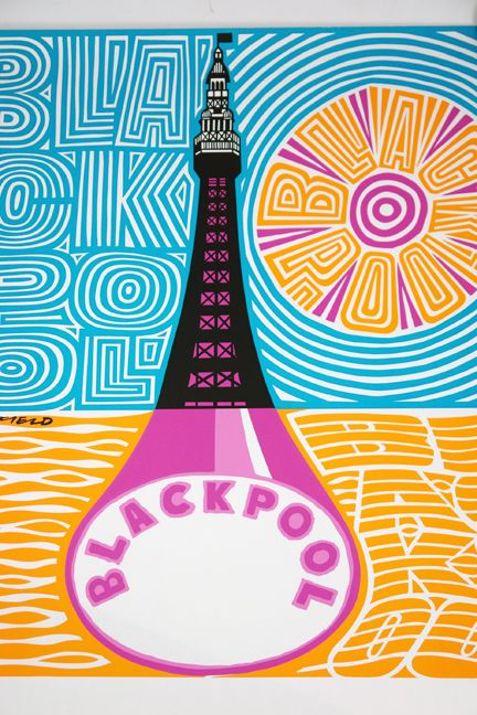 Blackpool vintage travel beach poster #essenzadiriviera.com