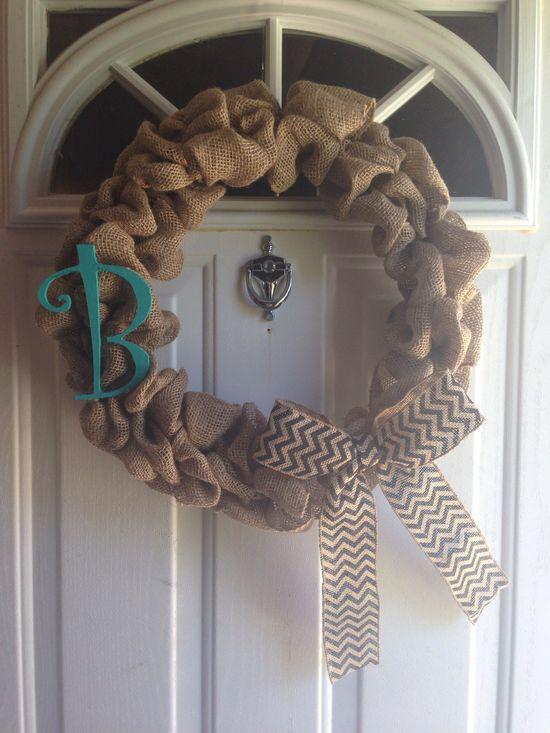 Burlap wreath, hand painted wooden letter & burlap chevron handmade bow! :) by me!