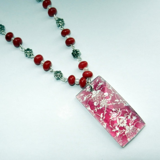 Pink Damask Pendant Necklace by CloudNineDesignz on Etsy, $25.00