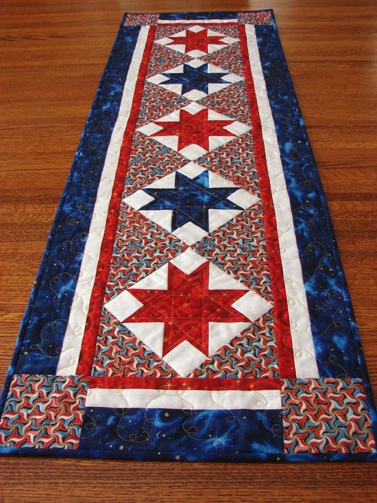 July 4th Patriotic Quilted Table Runner