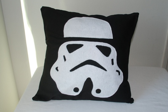 Old School Storm Trooper Pillow Cover. $40.00, via Etsy.