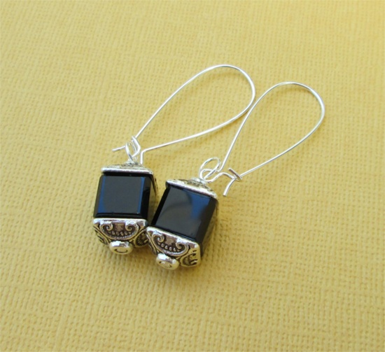 EBONY CUBES earrings on French wires. $12.00.  Gorgeous.  www.etsy.com/...