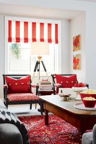 Home decorating, living room, design ideas, red