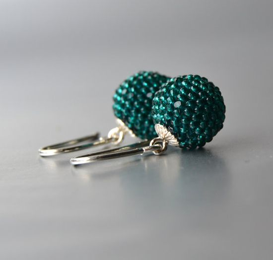 emerald earrings beaded globes with silver by Donauluft