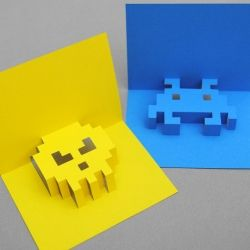 Learn how to make these cool 8-bit pop-up cards (templates included)...