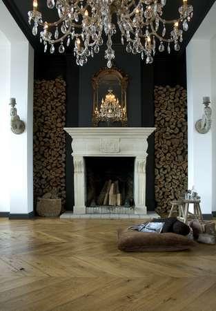On Chevrons parquet flooring interior design.