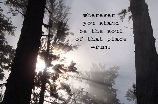"""Wherever you stand be the soul of that place"" -Rumi"