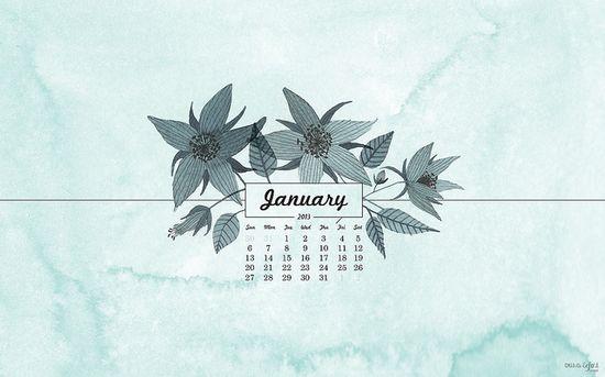 A beautifully illustrated and watercolored January 2013 digital desktop/iPhone/iPad wallpaper