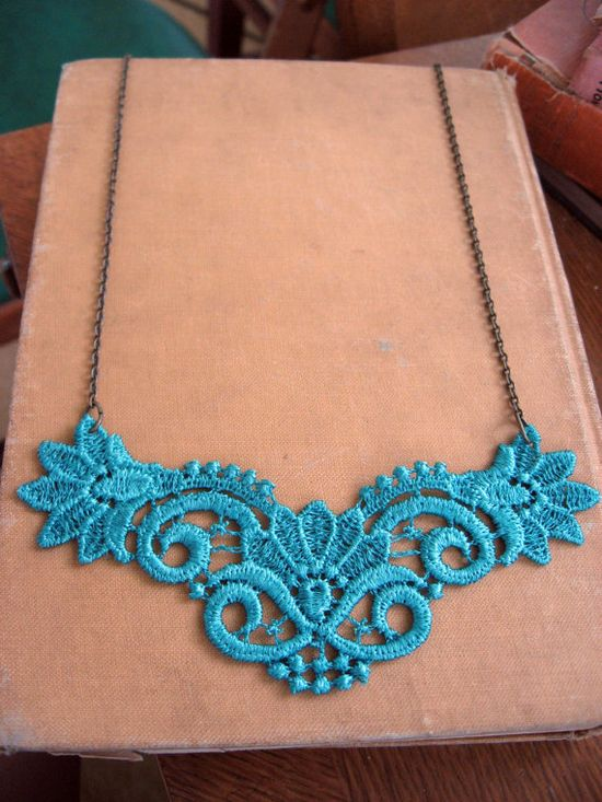 Blue lace necklace from etsy